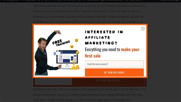 affiliate marketing popup