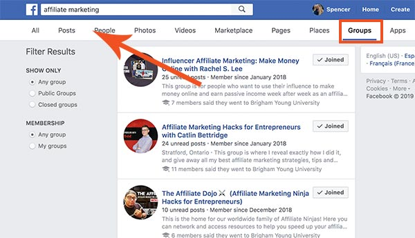 affiliate marketing facebook groups