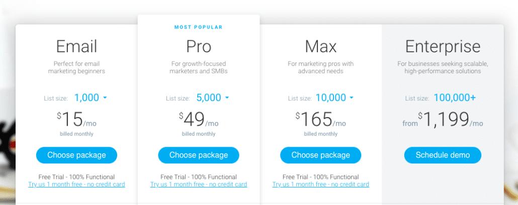 Get Response autoresponder pricing