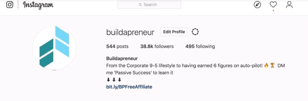Buildapreneur Instagram Link in Description