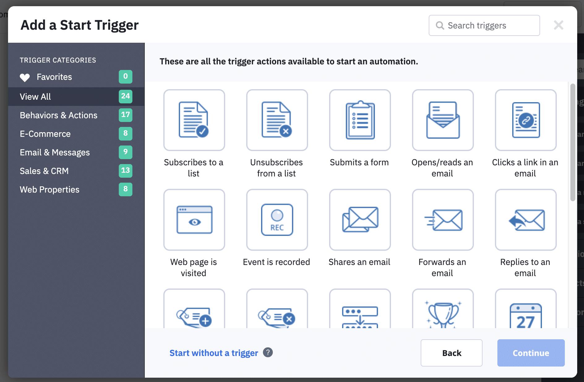 ActiveCampaign triggers