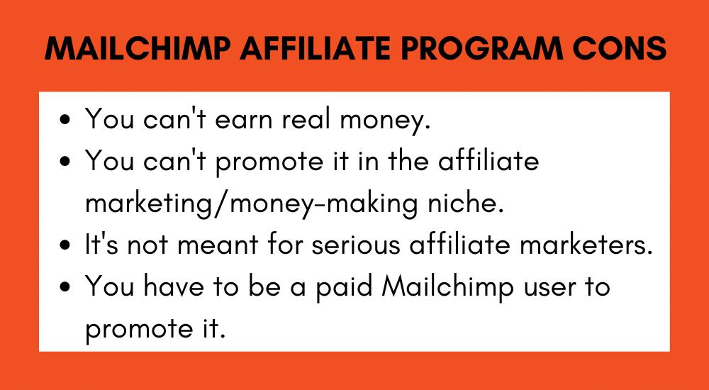 Mailchimp Affiliate Program Cons