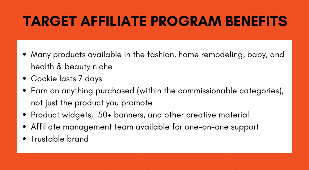 Target affiliate marketing program benefits