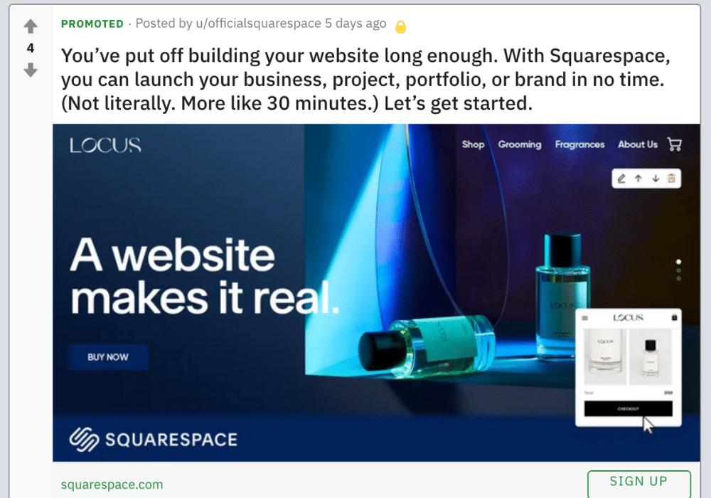 Squarespace Reddit Ad