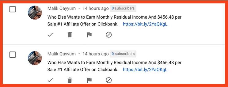 yt affiliate spam