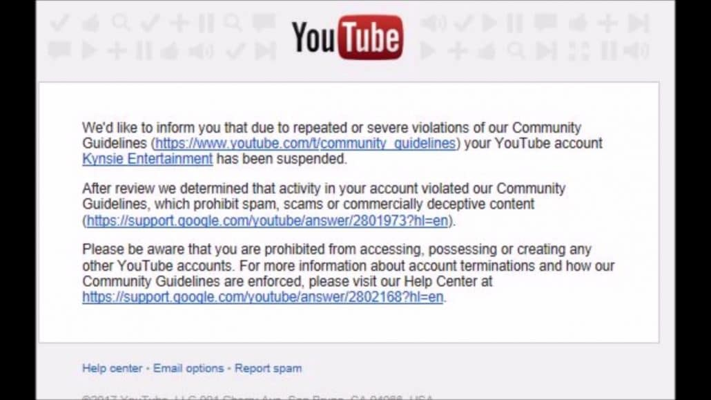 youtube suspension