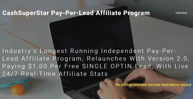 paid per lead affiliate program - cashsuperstar.com