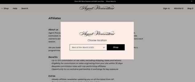 Agent Provocateur Affiliate Program