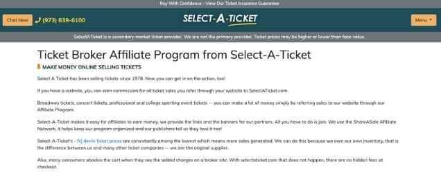 Select a Ticket Affiliate Program